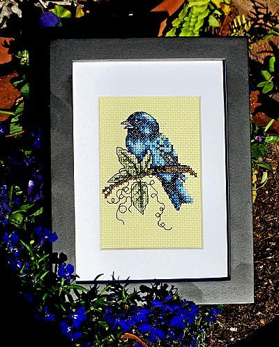Indigo Splendor bird cross stitch chart Bobbie G Designs