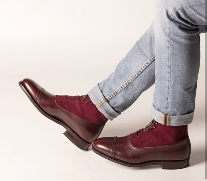 Men cap toe Two tone Leather ankle high boots, Men Burgundy Lace up ankle boots