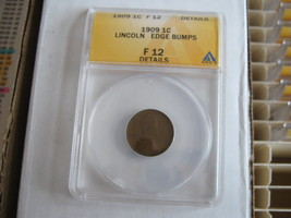 Lincoln Penny , 1909 , ANACS , F 12 , Edge Bumps - $13.00
