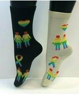 2 PAIRS Foozys Women's Socks, GAY PRIDE, LGBTQ+, Black, Cream Rainbow, NEW - $8.99