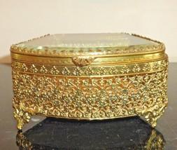 Vintage Ormolu Gold Filigree Glass Jewelry Casket Box - $125.00