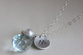 Personlized Initial Necklace Aquamarine Quartz  March Birthstone - $38.00