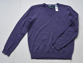 Polo Ralph Lauren Sweater M Lambs Wool Purple V Neck Classic Fit Pony New - $49.95