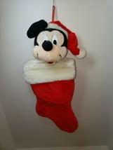 Vintage Mickey Mouse Santa Plush 3D Christmas Stocking Disneyland Disney World - $12.99