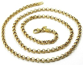 9K YELLOW GOLD CHAIN ROLO CIRCLE LINKS 3.5 MM THICKNESS, 24 INCHES, 60 CM - $327.00