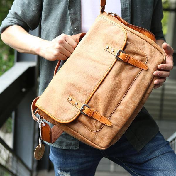 Sale, Retro Men Messenger Bag, Full Grain Leather Briefcase, Tote, Laptop Bag image 4