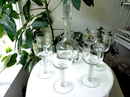Bryce # 670 Crystal Decanter and 6 Matching Glasses c 1940's - $59.40