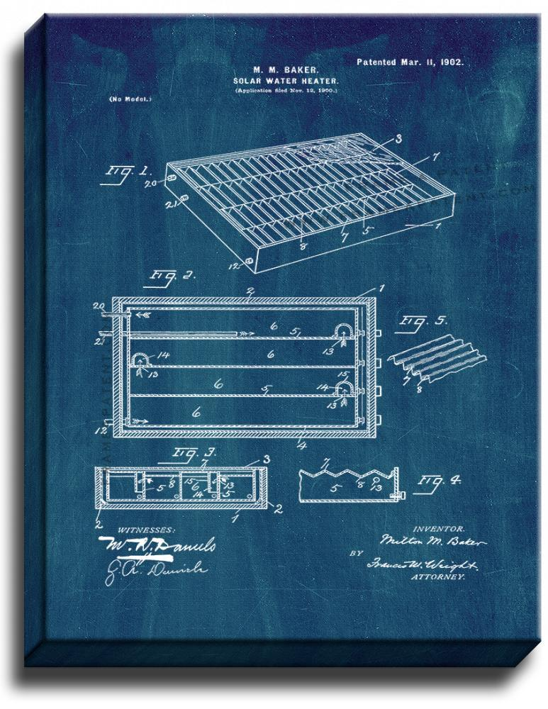 Primary image for Solar Water Heater Patent Print Midnight Blue on Canvas