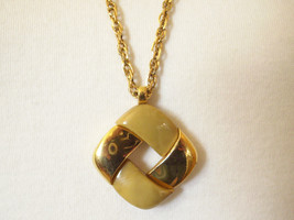 Crown Trifari Abstract Modernist Pendant Necklace Gold Tan Coffee Chain Vintage - $22.76