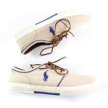 Polo Ralph Lauren Faxon Low Fashion Sneakers Beige Khaki Canvas Mens 14 D - $49.41