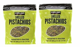 2 Pack Kirkland Signature Shelled Pistachios, Roasted & Salted, 24 Oz - $50.49