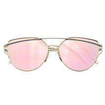 Donna Uomo Occhiali Metallo Lenti Piatte Moda Vintage Specchio da Sole Oversize - $11.46
