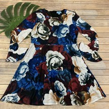 CeCe Cynthia Steffe Floral Dress Size L Long Sleeve Ruffle Trim Blue Red... - $23.75