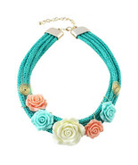 Colorful Resin Flowers Necklace Aquamarine - $6.65