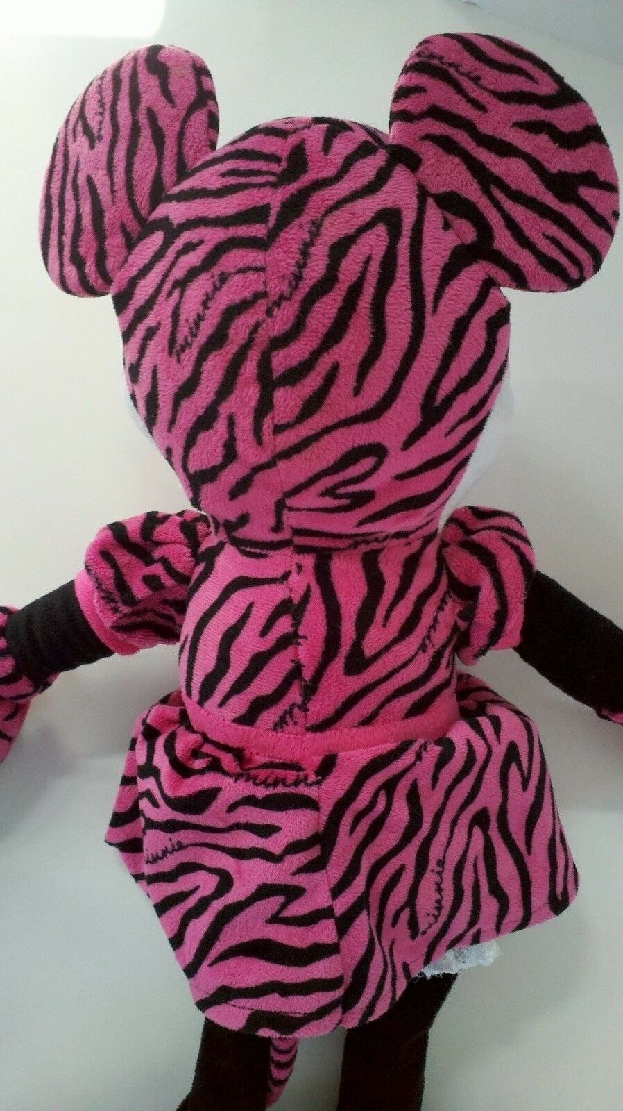 Large Disney Minnie Mouse Pink Zebra Stripe Print Soft Plush Stuffed Doll 20""