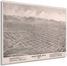 1875 Salt Lake City Utah Map Poster - Vintage Map of Salt Lake City Wall... - $34.99+