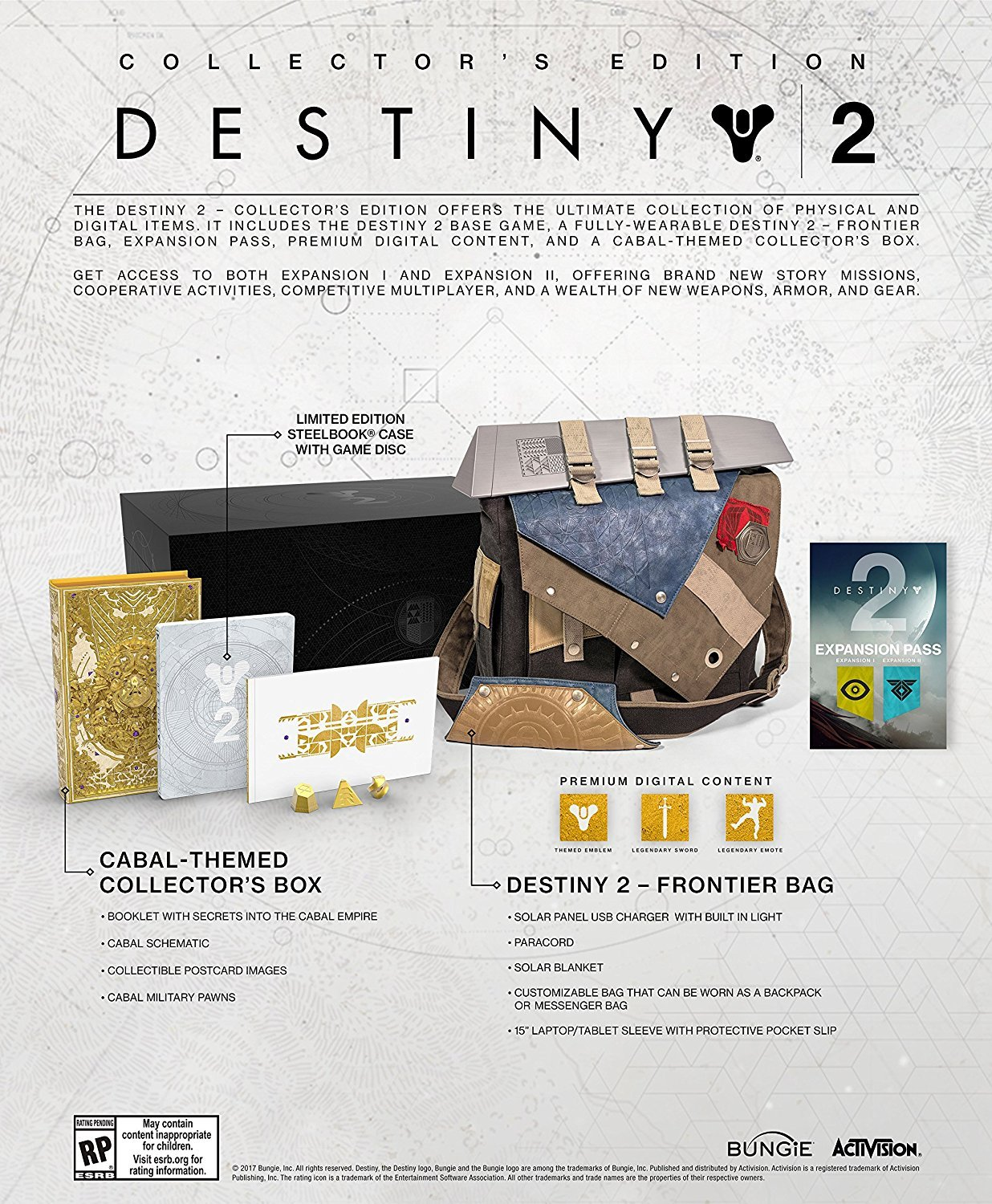 Destiny 2 Collector's Edition XBOX ONE /w Frontier Bag, Expansion Pass Bungie