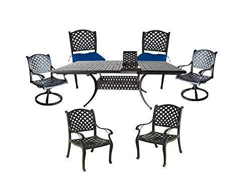 7 piece patio dining set expandable table 2 swivel rockers 2 arm chairs 2 armles