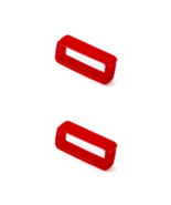 2 PIECES SIZE 24MM RED SOFT RUBBER REPLACEMENT WATCH BAND STRAP LOOP - $7.43