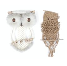 Vintage 70s Mid Century Modern MCM Set of 2 Owl Hand Knit Wood Hanging W... - $89.05