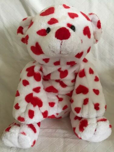 Primary image for Ty Pluffies Dreamsy Plush Tylux White Teddy Bear W/ Red Hearts 2007 Soft Beanie