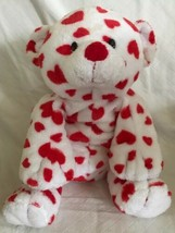 Ty Pluffies Dreamsy Plush Tylux White Teddy Bear W/ Red Hearts 2007 Soft Beanie - $13.85