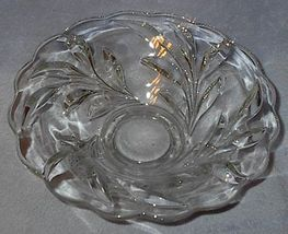 Old Vintage Heavy Crystal Deep Press Cut Leaf Pattern Bowl - $19.95