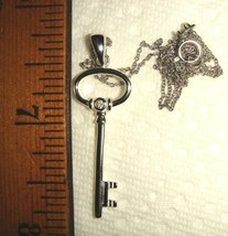 VTG 925 STERLING SKELETON KEY TO MY HEART DIAMOND NECKLACE CHARM BRACELE... - $267.99