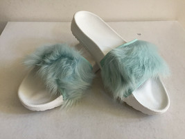 Ugg Royale Baby Blue Toscana Fur Fluffie Slide Slippers Us 6 / Eu 37 / Uk 4.5 - $51.43