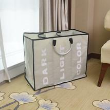 Portable Three Lattice Large Capacity Laundry Basket Light Gray - $11.29