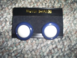 Vintage Pierced Earrings, Navy White Spectator Fashion Jewelry New - $4.75