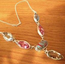 Silver Necklace Set 6 Natural Gem Topaz + Aqua - $59.00