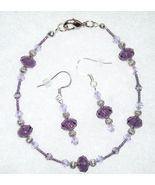 Purple Crystal Glass Bead Bracelet Earring Jewe... - $12.00
