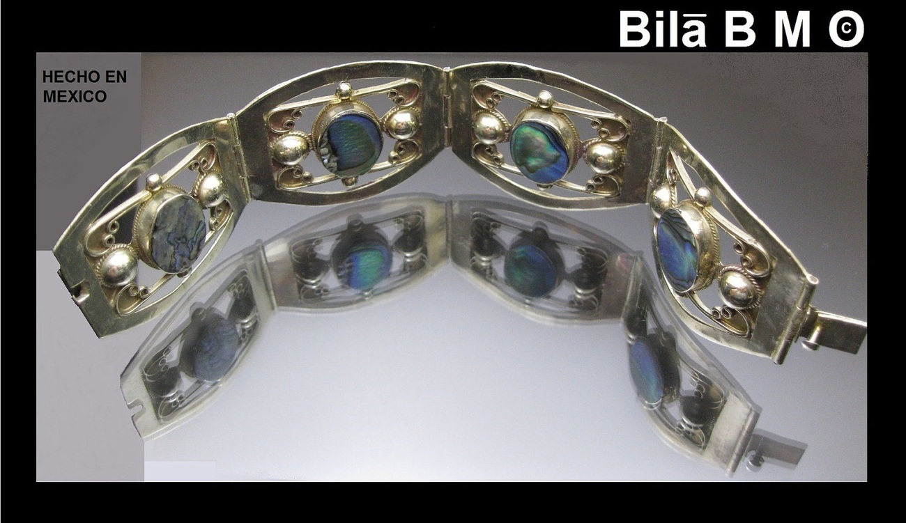 Primary image for Vintage STERLING MEXICAN Wide BRACELET with 4 Oval Abalone Sections-Handcrafted