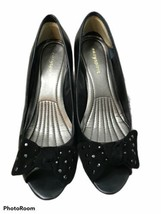 Easy Spirit Black  heel women shoes Studded Bow Open Toe Wedge Pumps sz 7.5M - $25.05 CAD