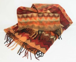 Super Soft PRESTON of YORK SCARF Rich Fall Colors Chevrons Fringed Cozy ... - $9.36