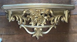 VTG 1969 Wall Shelf Ornate GOLD BRONZE Scroll Floral Hollywood Regency D... - $32.73