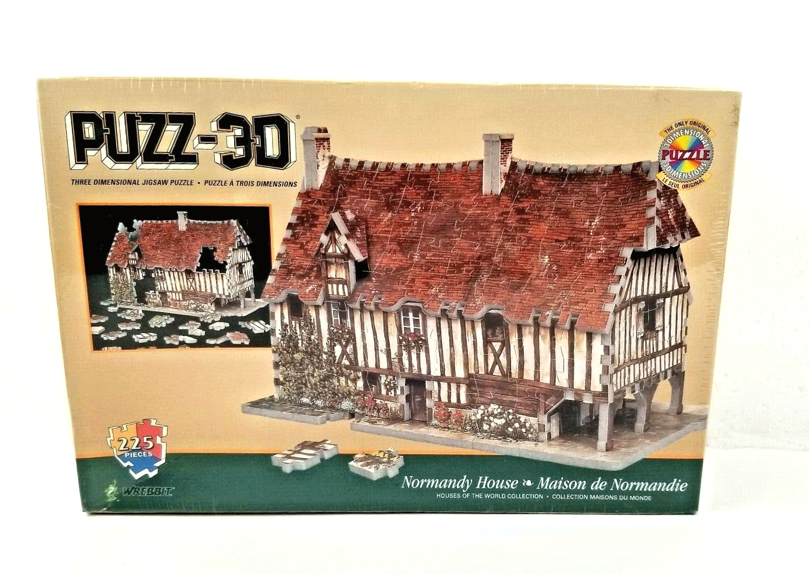 Puzz 3D Normandy House Puzzle by Wrebbit 225 Pieces Vintage NEW SEALED - $29.65