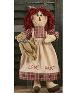 Primitive Doll  40888- Doll Red Girl w/bear - $18.95