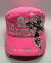 Pit Bull Women Cadet Cap Hat Bright Pink Distressed Cross Adjustable 100... - $11.63