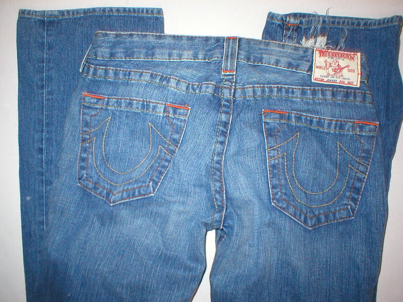 Primary image for New Womens True Religion Johnny Jeans 31 X 33 Distressed Blue Ripped USA Made