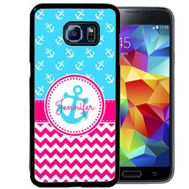 PERSONALIZED CASE FOR SAMSUNG S9 S8 S7 S7 S6 PLUS RUBBER HOT PINK CHEVRO... - $13.98