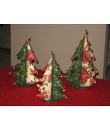 Christmas Tree Set of 3 - Unique Deco or Gifts Idea w/ star top and bells  - $79.95