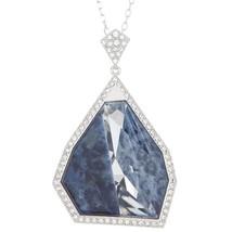 Authentic Swarovski Allure Crystal and Blue Lapis Gemstone Short Pendant - $186.07