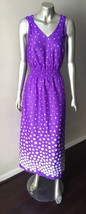 Polka Dot Vintage 70s Disco Plunging V Long Maxi Purple White Party Dres... - $35.29