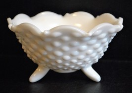Fenton Three Footed Hobnail Milk Glass Bowl with Scalloped Rim - $12.19