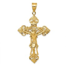 14K Yellow Gold INRI Fleur De Lis Crucifix Cross Charm Pendant 2.25 Inch - $379.59