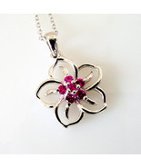 """Italy Sterling Silver .23 Cttw Created Ruby Flower Pendant Necklace 18"""" ... - $39.60"""