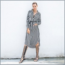 Black and White Striped Long Sleeve Button Up Maxi Beach Shirt With Belt