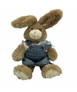 "BUILD A BEAR 15"" Light Brown  Plush Bunny W/ Pink Nose Overall Skirt And... - $13.32"